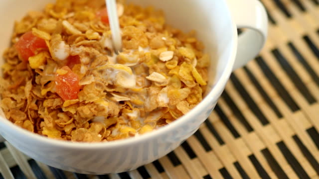 cereal and milk - bowl stock videos & royalty-free footage