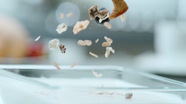 slo mo cereals and fruit falling into yoghurt - yoghurt stock videos and b-roll footage