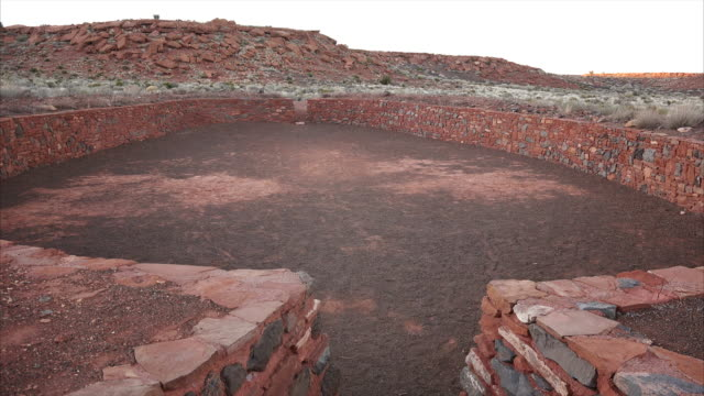 ceremonial ball court ruins at wupatki national monument - puebloan peoples stock videos & royalty-free footage