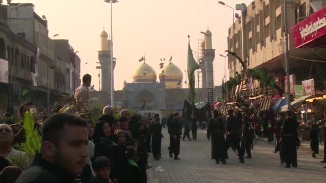 ceremonies marking the anniversary of the death of imam hussein a key figure in shiite islam began wednesday evening in baghdad clean ashura... - shi'ite islam stock videos & royalty-free footage