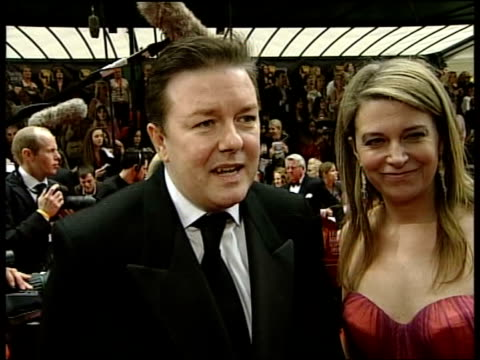 arrivals; ricky gervais interview sot - ricky gervais stock videos & royalty-free footage