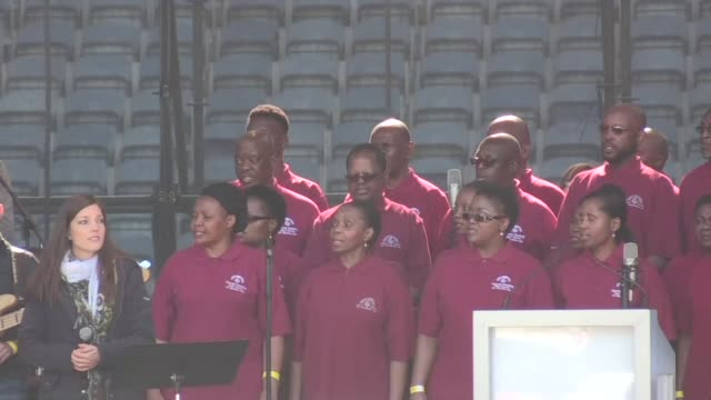 a ceremony in soweto stadium commemorates the 40th anniversary of the townships uprising when police opened fire at black students protesting against... - afrikaans stock videos & royalty-free footage