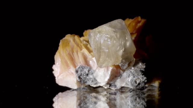cerussite and beryl crystals rotating on black - quarzo video stock e b–roll