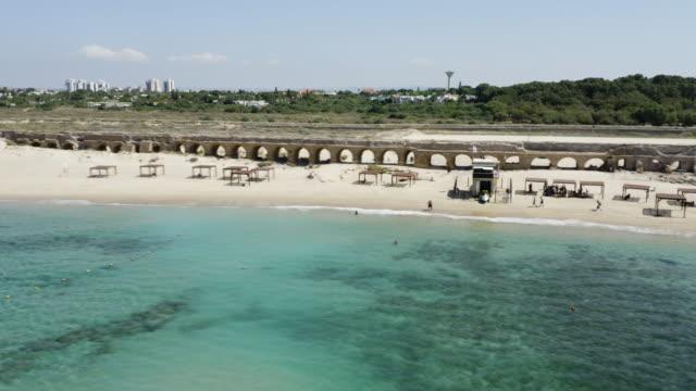cesarea, roman aqueduct. - architectural feature stock videos & royalty-free footage