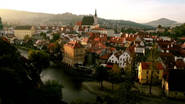 cesky krumlov at sunrise - river vltava stock videos and b-roll footage