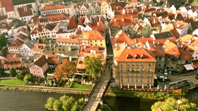 cesky krumlov at sunrise - river vltava stock videos & royalty-free footage
