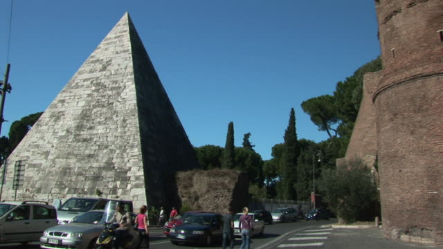 pan cestius pyramid and aurelian city wall / rome, lazio, italy - letterbox format stock videos and b-roll footage