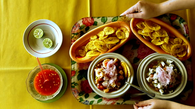 ceviche food with chigles in ecuadorian beach - ecuador stock videos & royalty-free footage
