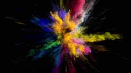 Cg animation of color powder explosion on black background. Slow motion movement with acceleration in the beginning. Has alpha matte