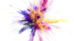 Cg animation of color powder explosion on white background. Slow motion movement with acceleration in the beginning. Has alpha matte