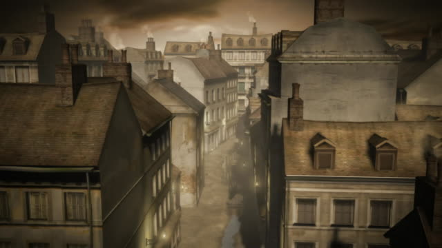 a cgi depiction of historical london shows water pooling in the middle of the streets. - 19th century stock videos & royalty-free footage