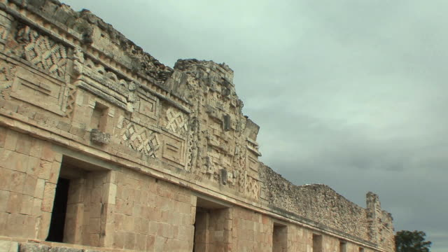 ws zi cu chaacs, maya rain deity carvings on northern building of nunnery quadrangle at pre-columbian ruined city of maya civilization / uxmal, yucatan, mexico - pre columbian stock videos & royalty-free footage