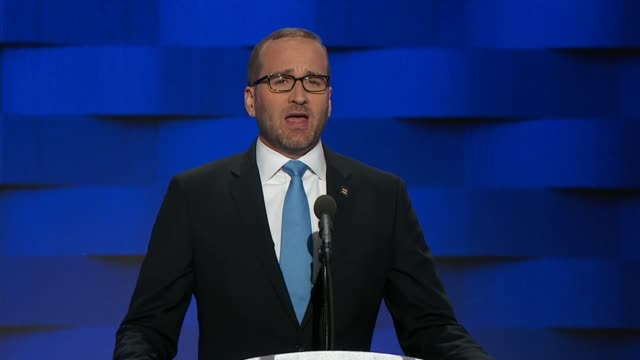chad griffin president of the human rights campaign discusses lgbtq rights at the convention telling delegates that at the rnc donald trump exploited... - republikanischer parteitag stock-videos und b-roll-filmmaterial