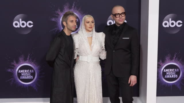 chad king ian axel and christina aguilera at the 2019 american music awards at microsoft theater on november 24 2019 in los angeles california - american music awards stock videos & royalty-free footage