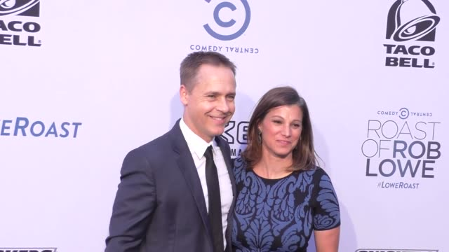 chad lowe and kim painter at the comedy central roast of rob lowe at sony pictures studios in culver city at celebrity sightings in los angeles on... - chad lowe stock videos & royalty-free footage