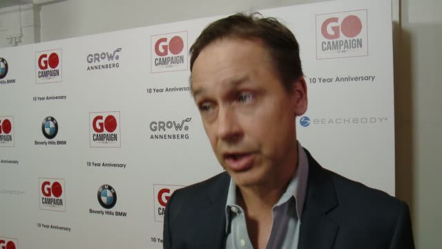 interview chad lowe on being involved in go campaign on how he's seen it grow on participating in the auction at go campaign's 10th anniversary on... - chad lowe stock videos & royalty-free footage