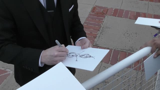 Chad Sellers draws 'Frozen' for fans at the 2017 Annie Awards at Royce Hall at UCLA in Westwood at Celebrity Sightings in Los Angeles on February 04...