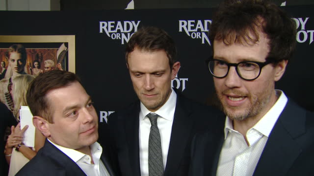 """interview chad villella matt bettinelliolpin tyler gillett on making the movie at the """"ready or not"""" los angeles special screening presented by fox... - fox searchlight pictures stock videos & royalty-free footage"""