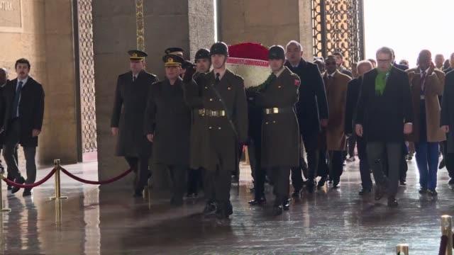 chad's president idriss deby itno visits anitkabir the mausoleum of the founder of turkish republic mustafa kemal ataturk in ankara turkey on... - mausoleum stock videos and b-roll footage