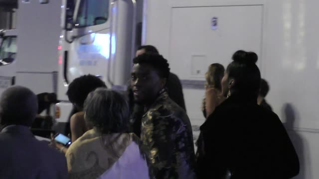 chadwick boseman arrives at the black panther premiere at dolby theatre in hollywood in celebrity sightings in los angeles - chadwick boseman stock videos and b-roll footage