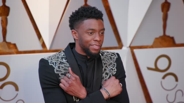vídeos de stock e filmes b-roll de chadwick boseman at 90th academy awards - arrivals at dolby theatre on march 04, 2018 in hollywood, california. - the dolby theatre