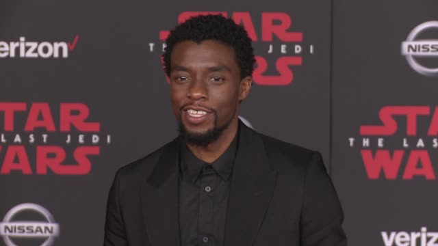 chadwick boseman at the star wars the last jedi premiere at the shrine auditorium on december 9 2017 in los angeles california - chadwick boseman stock videos and b-roll footage