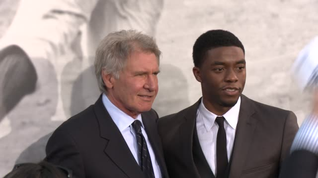 chadwick boseman harrison ford at 42 los angeles premiere 4/9/2013 in hollywood ca - chadwick boseman stock videos and b-roll footage