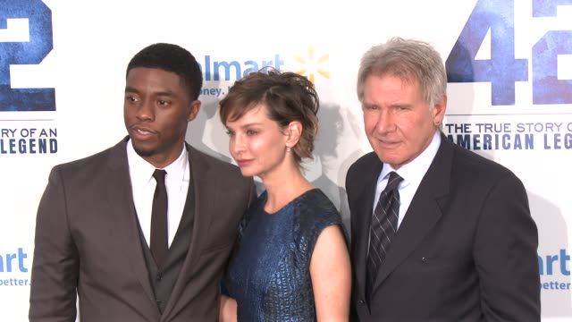 chadwick boseman harrison ford calista flockhartt at 42 los angeles premiere 4/9/2013 in hollywood ca - chadwick boseman stock videos and b-roll footage
