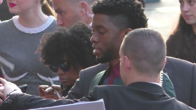 Chadwick Boseman Karen Gillan at the Avengers Infinity War premiere in Hollywood in Celebrity Sightings in Los Angeles