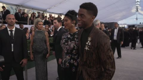 chadwick boseman, taylor simone ledward at the 25th annual screen actors guild awards - social ready content at the shrine auditorium on january 27,... - screen actors guild stock videos & royalty-free footage