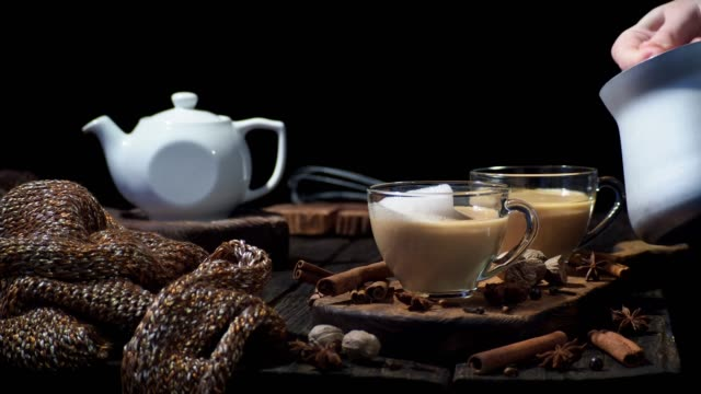 chai latte - latte stock videos and b-roll footage