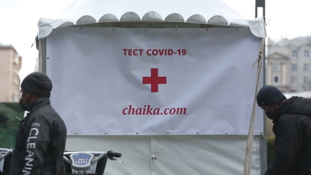 chaika clinic mobile covid-19 sample-collection site in moscow international business center , also known as moscow city, in moscow, russia, on... - russia点の映像素材/bロール