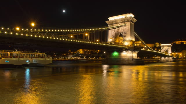 chain bridge across the danube river hyperlapse timelapse of budapest, hungary, europe. - time-lapse - széchenyi chain bridge stock videos and b-roll footage