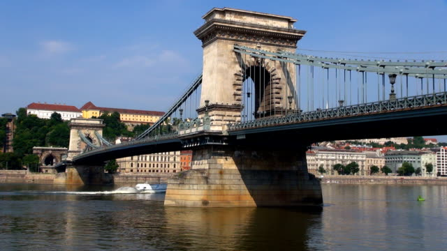 chain bridge - budapest, hungary. - chain bridge suspension bridge stock videos & royalty-free footage