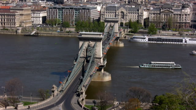 chain bridge in budapest (hd) - chain stock videos & royalty-free footage