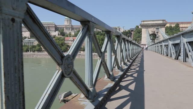 Chain Bridge Szechenyi Lamchid & Hungarian Nation Gallery, Budapest, Hungary, Europe