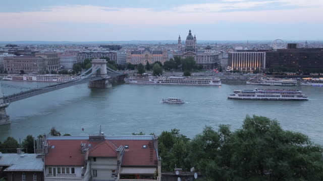chain bridge szechenyi lamchid, & river danube from castle hill district, budapest, hungary, europe - river danube stock videos & royalty-free footage