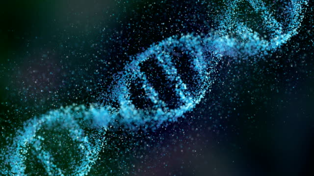 vidéos et rushes de dna chain made of small particles - frolow