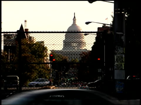 1999 WS Chainlink fence blocking street near United States Capitol Building / Washington, DC, USA