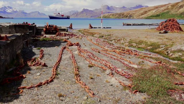 chains used to drag whales up onto shore, grytviken, south georgia, southern ocean - imperfection stock videos & royalty-free footage