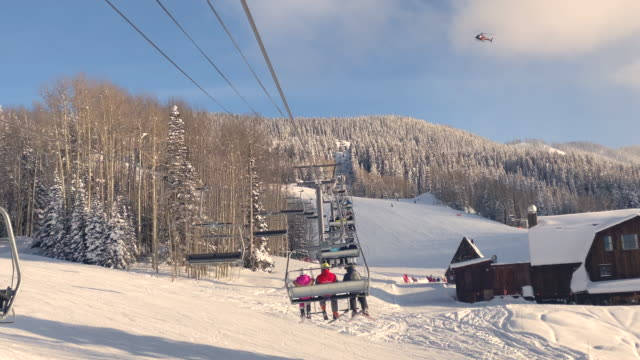 chair ski lift point of view in telluride usa - ski lift point of view stock videos & royalty-free footage