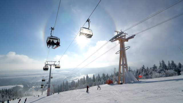 chairlift with ski pass and sun and halo in winter, mount fichtelberg, oberwiesenthal, erzgebirge, ore mountains, saxony, germany, europe - conceptual symbol stock videos and b-roll footage