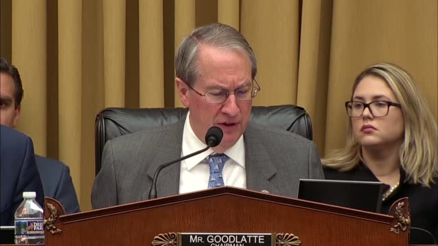 Chairman Bob Goodlatte asks Deputy Attorney General Rod Rosenstein at a hearing of the House Judiciary Committee about handling of the Justice...