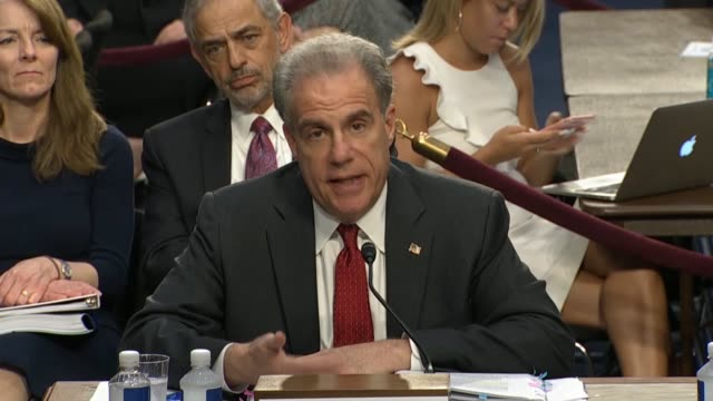 chairman grassley questions doj inspector general michael horowitz fbi director christopher wray at the senate judiciary committee in a hearing on... - christopher a. wray stock videos & royalty-free footage