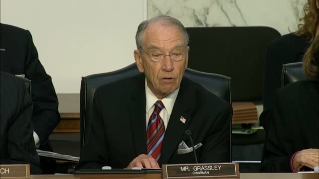 chairman grassley questions doj inspector general michael horowitz and fbi director christopher wray at the senate judiciary committee in a hearing... - christopher a. wray stock videos & royalty-free footage