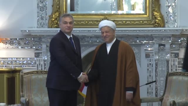 chairman of expediency discernment council akbar hashemi rafsanjani meets with hungarian prime minister viktor orban in tehran, iran on december 01,... - 2015 stock-videos und b-roll-filmmaterial