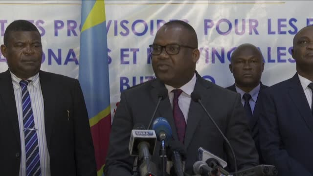 vídeos de stock e filmes b-roll de chairman of the ceni corneille nangaa announces that the by elections were won in beni and butembo in the east of the democratic republic of congo by... - southwest usa