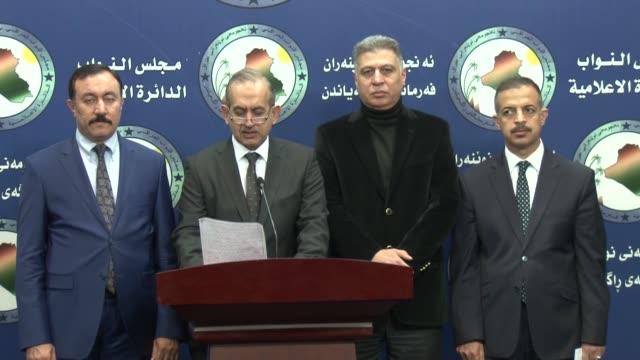 Chairman of the Iraqi Turkmen Front Arshad alSalihi Turkmen MP Hasan Turan and Arab MPs attend a press conference to react Iraqi President Fuad Masum...
