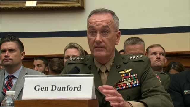 chairman of the joint chiefs joseph dunford reads prepared testimony at a hearing of the house armed services committee with respect to the fiscal... - ministero americano della difesa video stock e b–roll