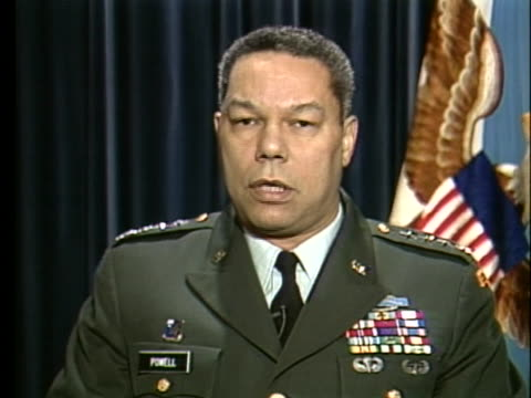chairman of the joint chiefs of staff colin powell commends the us troops for their service in the persian gulf and wishes them a happy thanksgiving - thanksgiving politics stock videos & royalty-free footage
